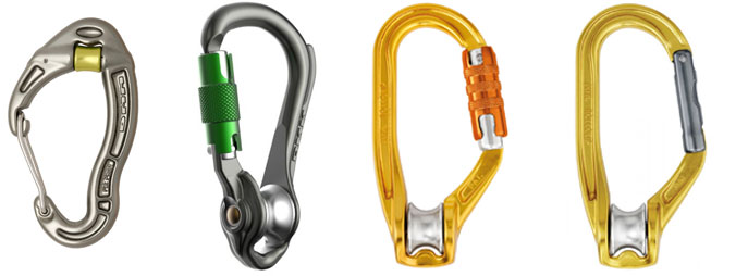 Karabiners with integrated pulley