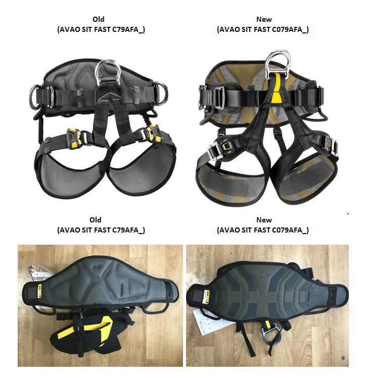 Old Petzl Avao Sit C79AFAx and new Petzl Avao Sit Fast C079BA0x